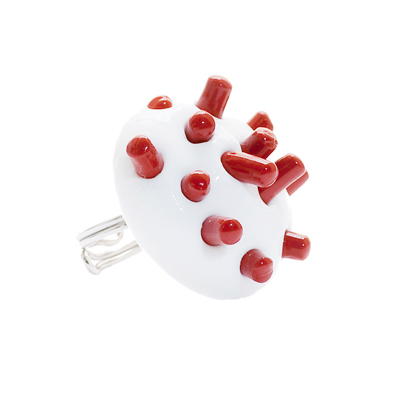 Ring, code C01, materials silicone rubber & 925 sterling silver, color red-white